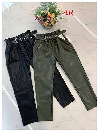 Женские брюки из экокожи высокой посадки с ремнем 42-46 р, фото 2