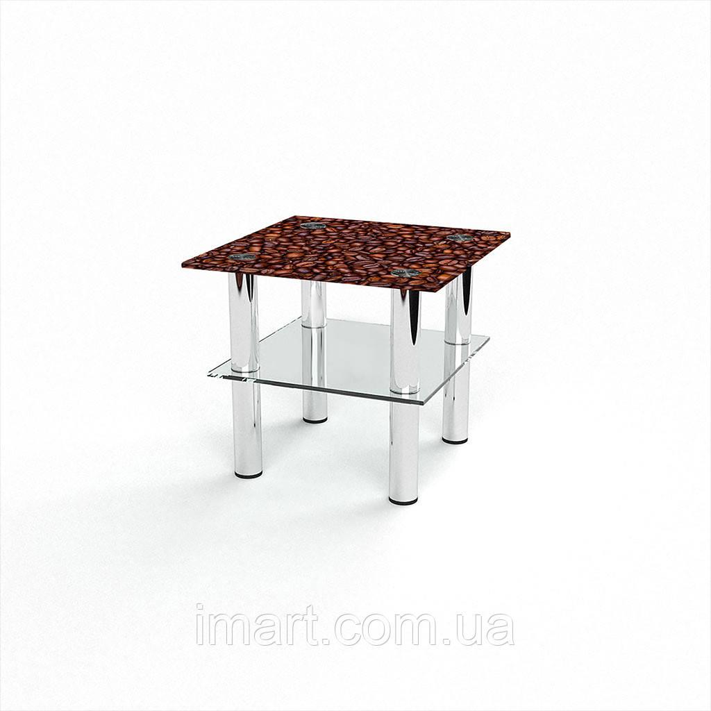 Журнальный стол квадратный с полкой Coffee aroma стеклянный