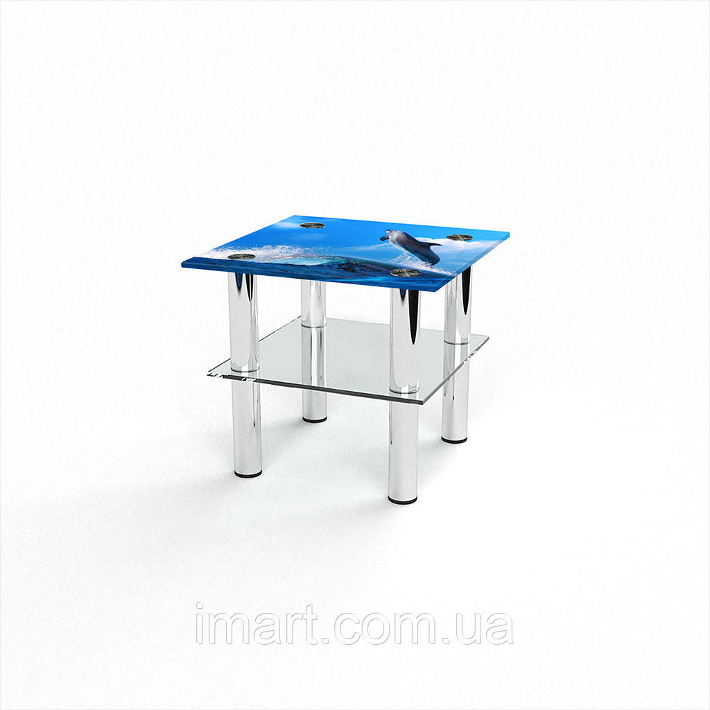 Журнальный стол квадратный с полкой Dolphin стеклянный