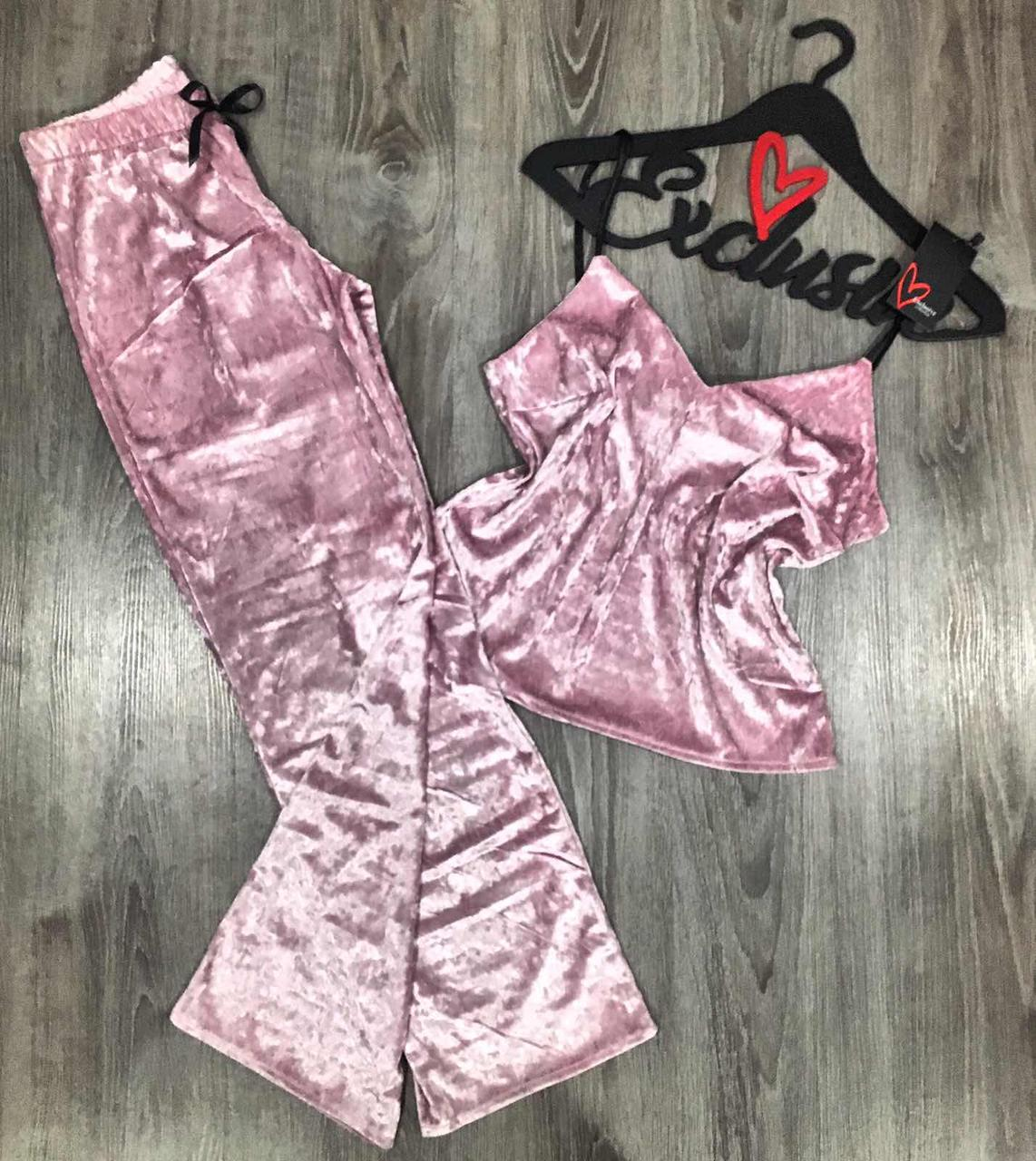 Рожева велюрова піжама майка і штани 602.