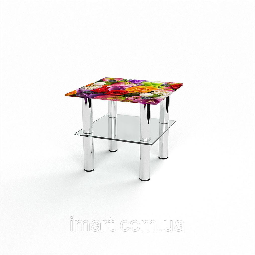 Журнальный стол квадратный с полкой Flowers стеклянный