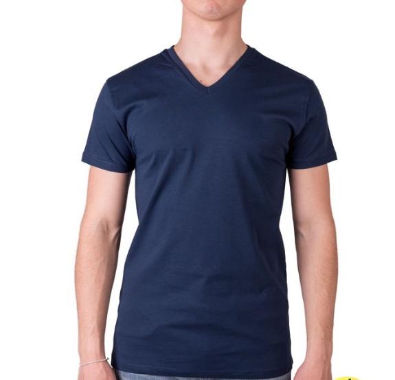 Темно синяя футболка мужская спортивная летняя без рисунка трикотажная хб (Украина)