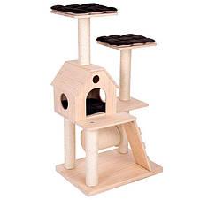 Игровой комплекс для котов Wooden castle S с домиком для кошки и когтеточкой, фото 3