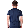 Темно синяя футболка мужская спортивная летняя без рисунка трикотажная хб (Украина), фото 2
