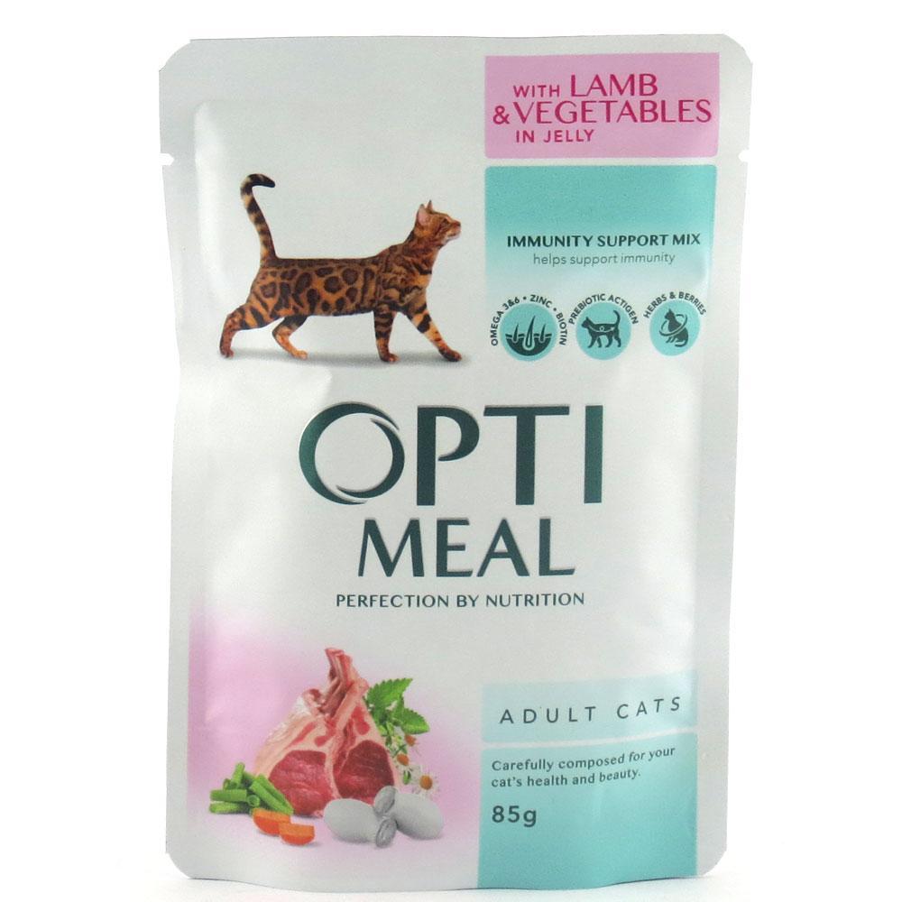 Влажный корм для кошек Optimeal с ягнёнком и овощами блок 85 г*12 шт.