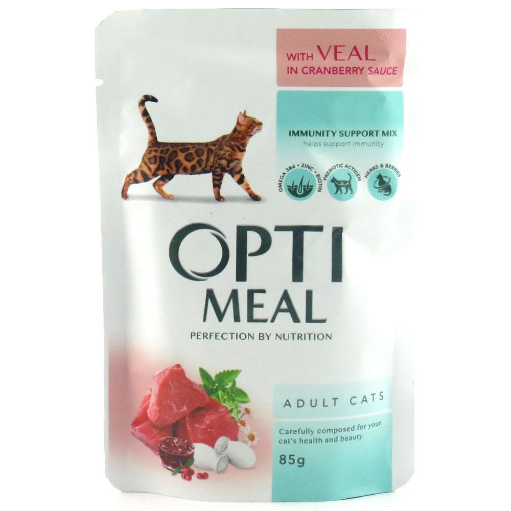 Вологий корм для кішок Optimeal з телятиною в журавлинному соусі 85 г