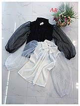 Женская блузка с объемным рукавом в горошек 42-44 р, фото 2
