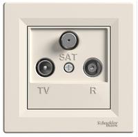 Розетка TV-R-SAT 1 dB концевая кремовая Asfora, EPH3500123