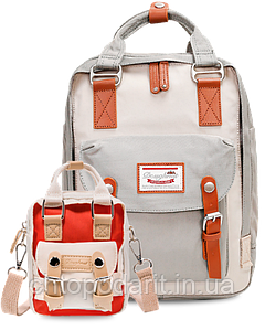Рюкзак Doughnut Macaroon серый + сумочка Doughnut в подарок Код 10-5943
