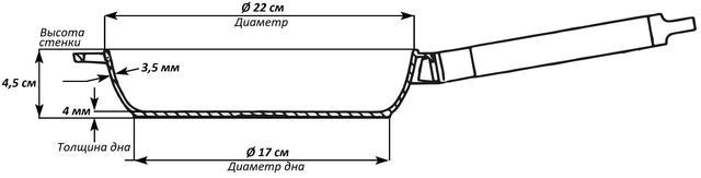 Сковорода чугунная Оптима Биол со съёмной ручкой 22 см 0122