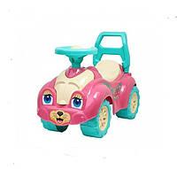 """Машинка каталка толокар """"Котик"""" девочке для прогулок розовая"""