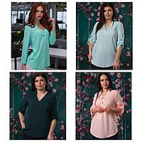 Блуза весна-лето, длинный рукав или короткий по желанию, евро-бенгалин, разных цветов, р. 50,52,54 код 2800М