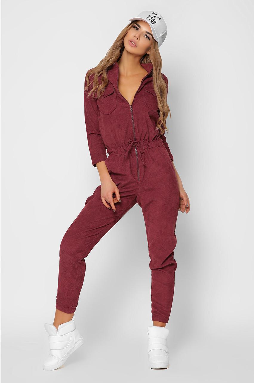 Модный женский комбинезон вельветовый бордовый