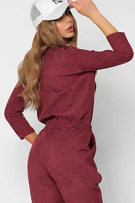Модный женский комбинезон вельветовый бордовый, фото 3