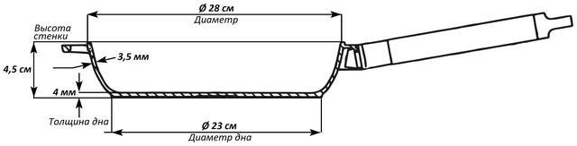 Сковорода чугунная Биол Оптима низкая со съемной ручкой 280 мм 0128