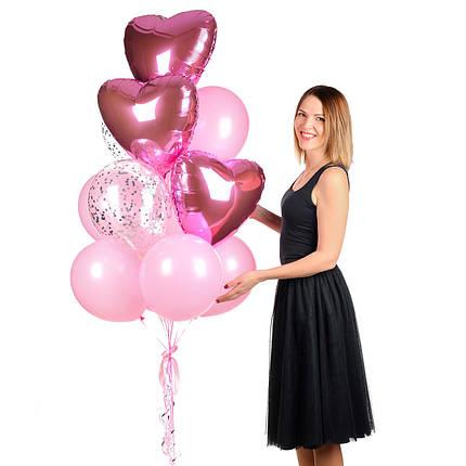 Связка из розовых воздушных шаров и сердечек с гелием для девушки, фото 2