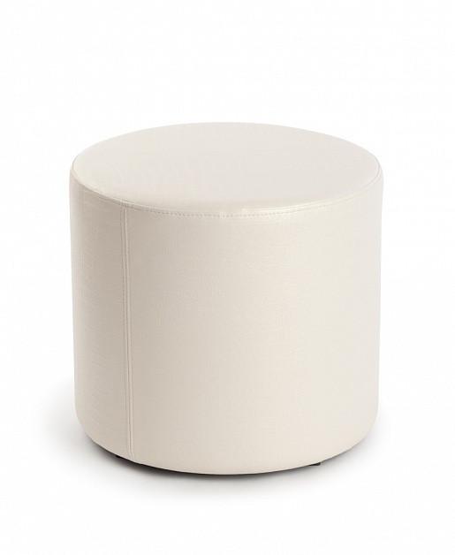 Пуф ПФ-5 круглый белый - экокожа 35х35х42 см.пуфик,пуфики,пуф кожзам,пуф экокожа,банкетка,банкетки,п
