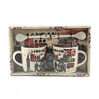 Подарочный набор из 2х чашек и ложек Tea cup London в подарочной упаковке