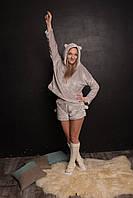 Котожама женская тёплая  батник и шорты sleep пижама ME OW серая