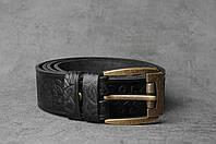 Кожаный качественный чёрный ремень с тисненым орнаментом, фото 1