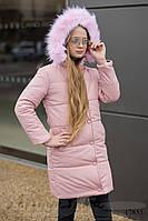 Зимняя теплая куртка-пальто для девочек пудра, фото 1