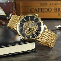 Forsining rich gold золотистые с золотым циферблатом мужские механические часы скелетон