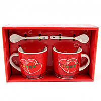 Подарочный набор из 2х чашек и ложек Tea cup Love в подарочной упаковке