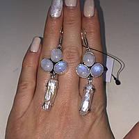 Лунный камень жемчуг барочный жемчуг барокко серьги натуральный лунный камень и жемчуг бароко в серебре