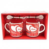 Подарочный набор из 2х чашек и ложек Tea cup Love 2 в подарочной упаковке