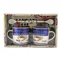 Подарочный набор из 2х чашек и ложек Tea cup Blue Mountain Coffee в подарочной упаковке