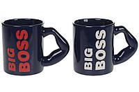 """Кружка керамическая""""Big Boss"""", 350мл, цвет - темно-синий, набор 12шт"""