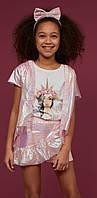 Комплект футболка+жилетка+юбка-шорты для девочек 5-13 лет Турция  Little star