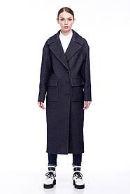 Классическое женское пальто цвет тёмный джинс 42-52