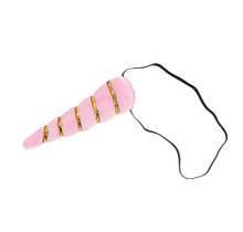 """Детская повязка """"Единорог"""", розовая - высота рога 14см, окружность универсальная (на резинке)"""