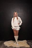 Котожама женская тёплая  батник и шорты sleep пижама ME OW белая