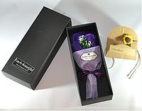 Подарочный букет фиолетовых роз ручной работы из мыла