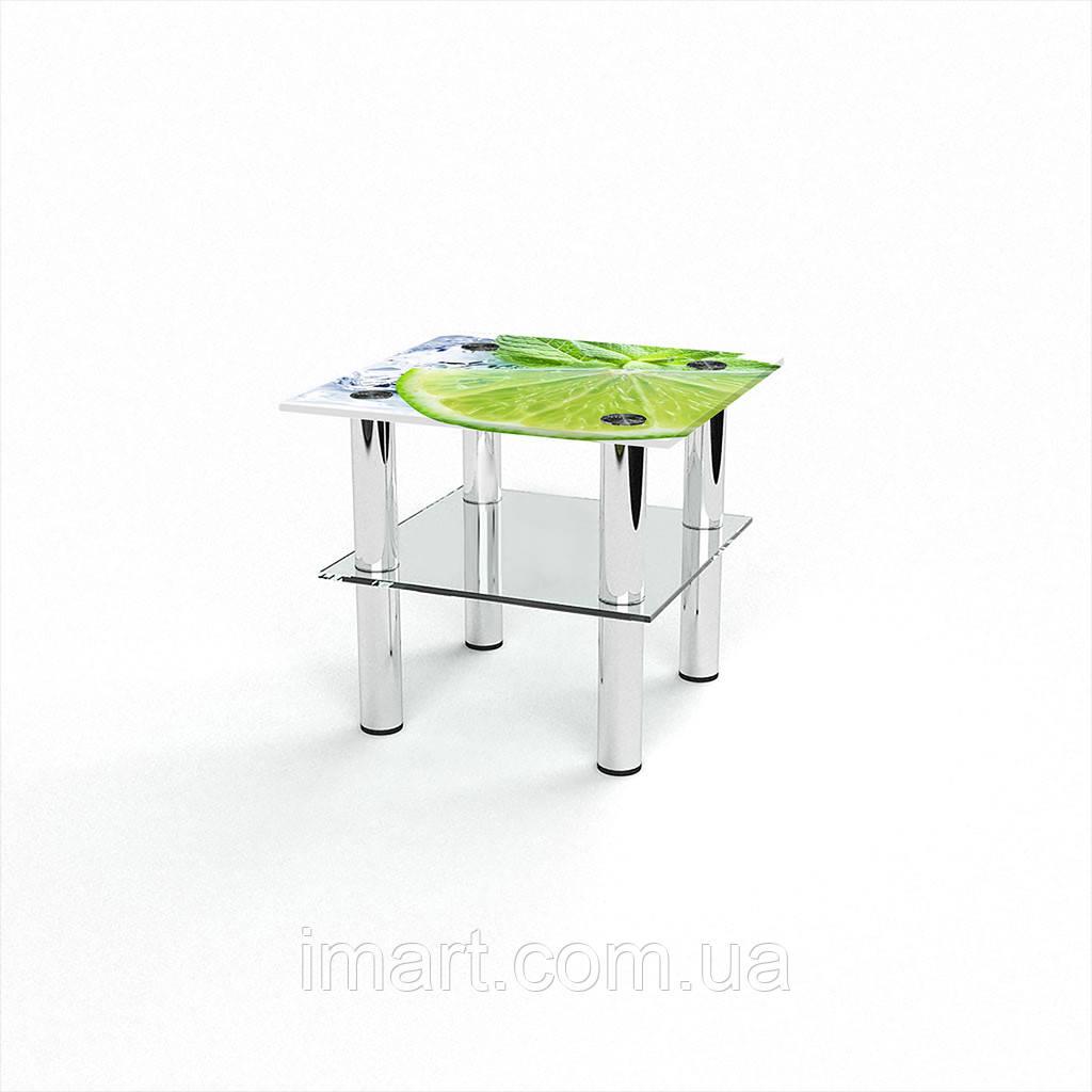 Журнальный стол квадратный с полкой Ice lime стеклянный