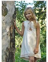 Вышиванка-платье светлый беж