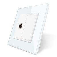 ТВ розетка Livolo білий скло (VL-C791V-11), фото 1
