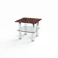 Журнальный стол квадратный с полкой Morning aroma стеклянный