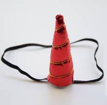 """Детская повязка """"Единорог"""", красная - высота рога 14см, окружность универсальная (на резинке)"""