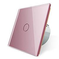 Сенсорный выключатель Livolo розовый стекло (VL-C701-17), фото 1