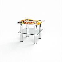 Журнальный стол квадратный с полкой Nice breakfast стеклянный