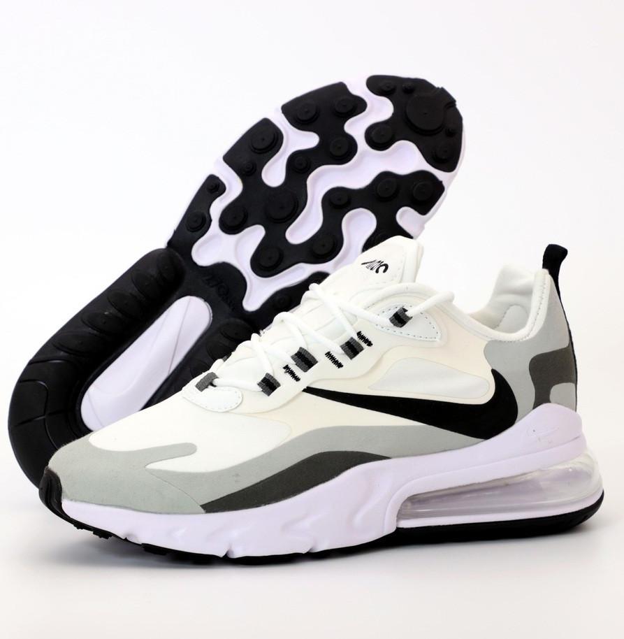 Мужские кроссовки Nike Air Max 270 React белые. Живое фото. Топ реплика