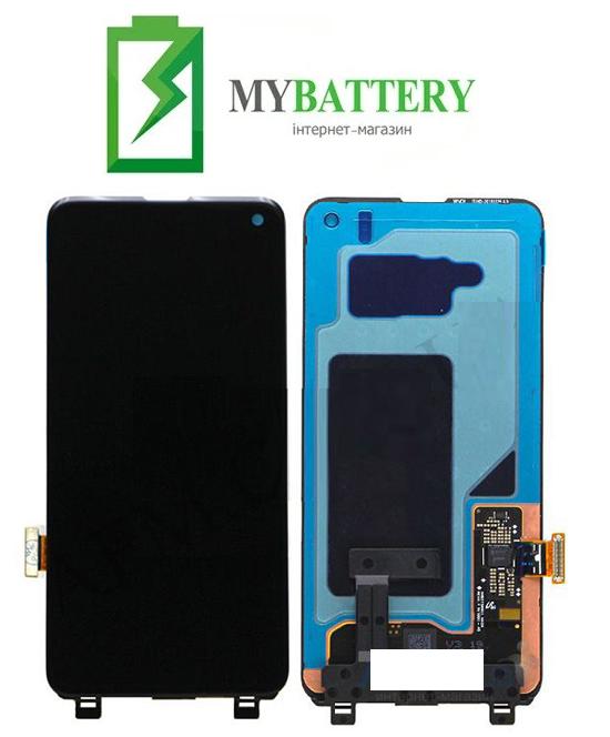 Дисплей (LCD) Samsung GH82-18850A G973 Galaxy S10 с сенсором черный с рамкой сервисный