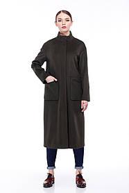 Модное шерстяное женское пальто цвет хаки 42-52