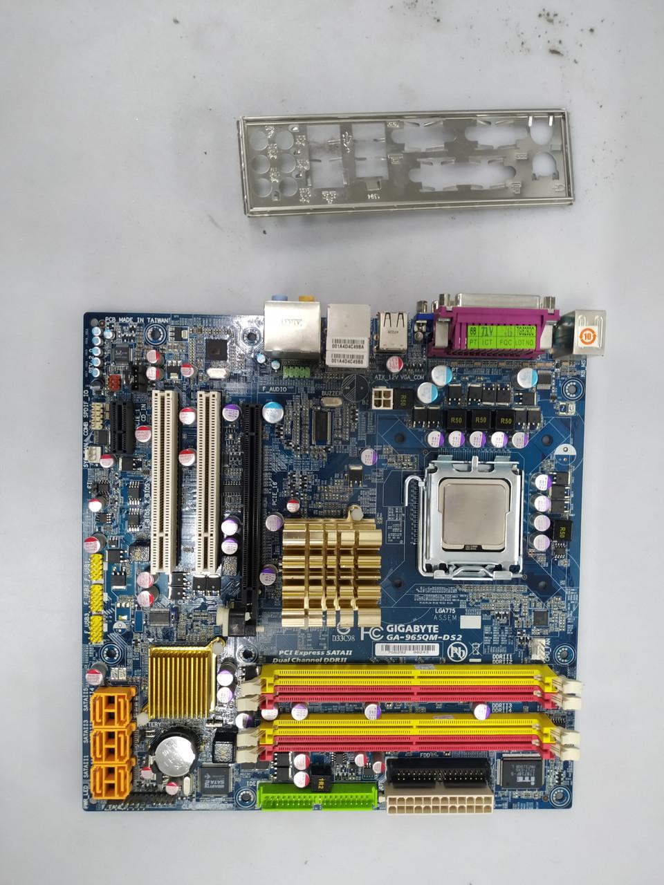 Материнская плата Gigabyte GA-965QM-DS2 (s775, Q965, PCI-Ex16) и процессор двухъядерный