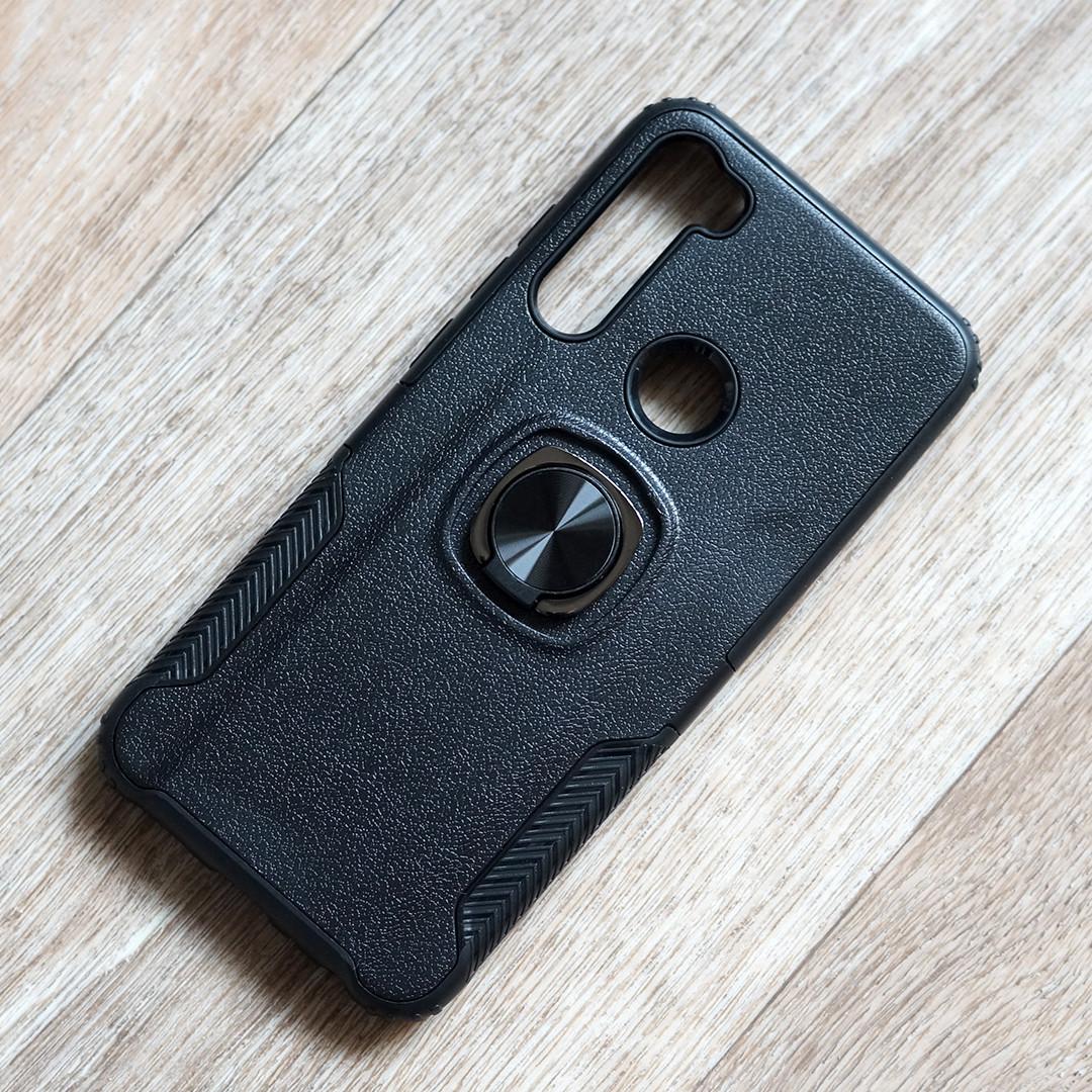 Противоударный чехол с кольцом держателем для Xiaomi Redmi Note 8T (черный)