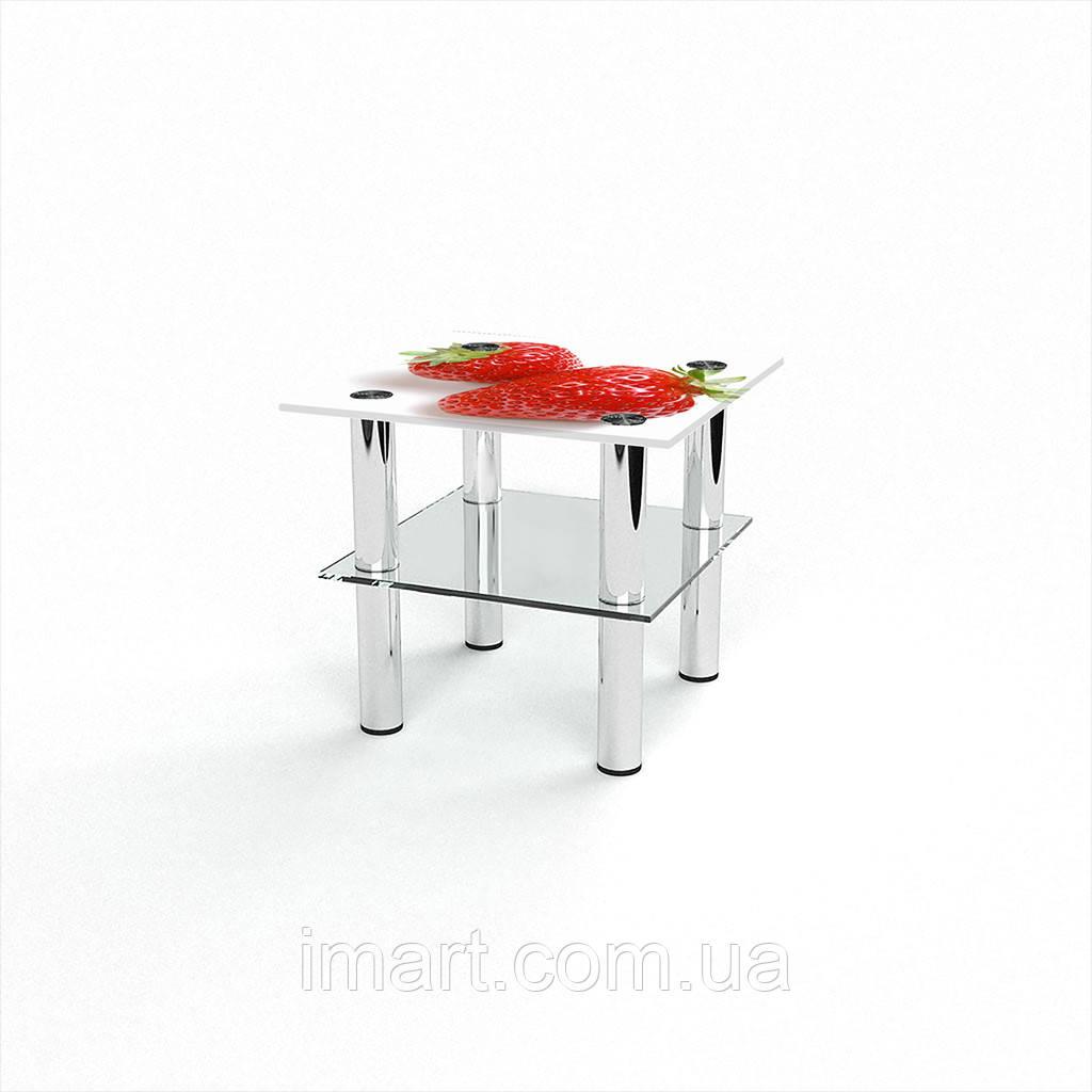 Журнальный стол квадратный с полкой Red berry стеклянный