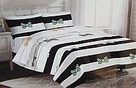 Двуспальный размер постельное белье бязь «Полоска Бантик»